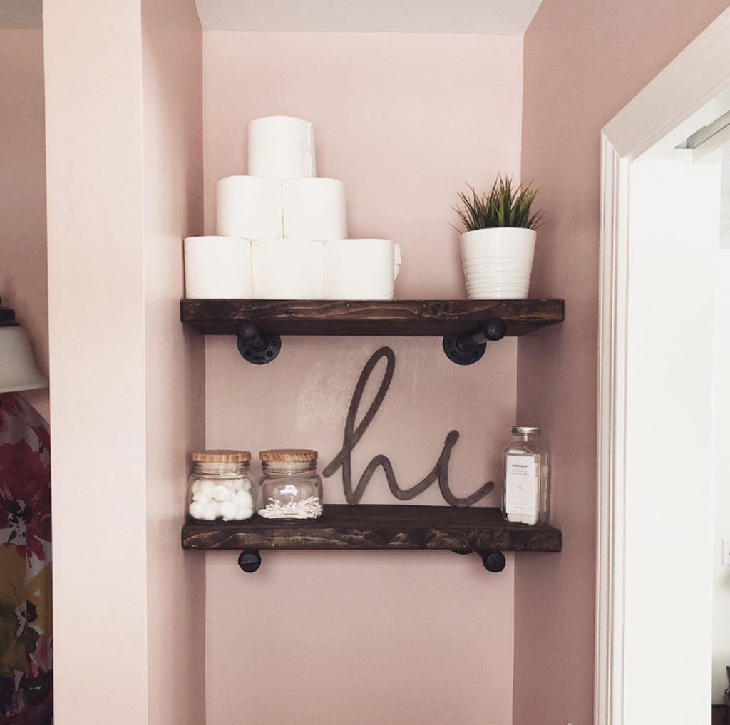 diy industrial pipe bathroom shelves
